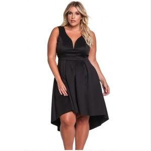 Dresses & Skirts - Black Sleeveless V Neck Plus Size Hi-lo Dress